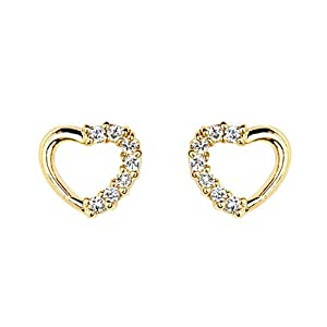14k Yellow Gold Plated Open Heart Cz Stud Earrings With Screw Back For Children Women