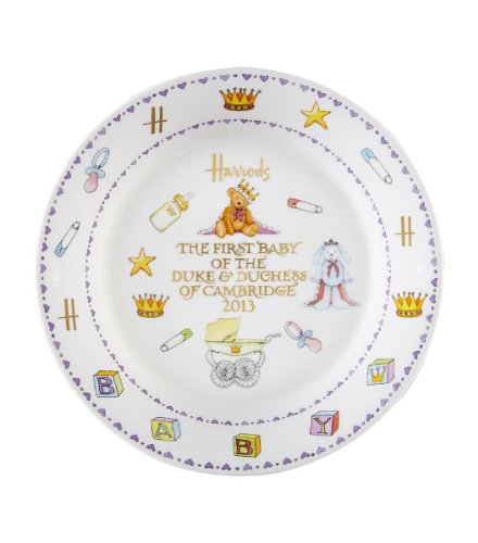 英国Harrods(ハロッズ) ウィリアム王子&キャサリン妃 ロイヤルベビー記念 20cmプレート皿 数量限定 英国製陶磁器【並行輸入品】