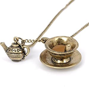 Antique Bronze Tea Cup Necklace - Boxed & Gift Wrapped