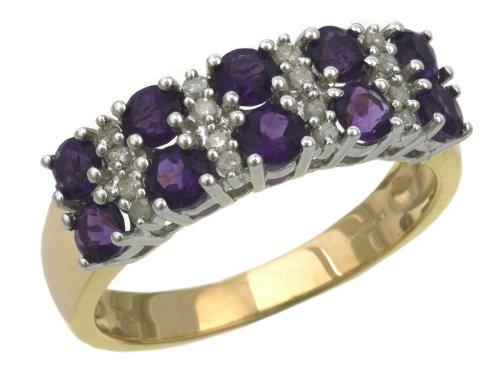 Eternity Ring, 9ct Yellow Gold Diamond and Amethyst Ring, Claw Set