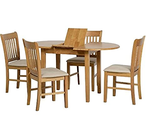 Solid Wood Dining Set - Features An Oval Extendable Table and Four Matching Chairs, Perfect for Updating your Dining Area