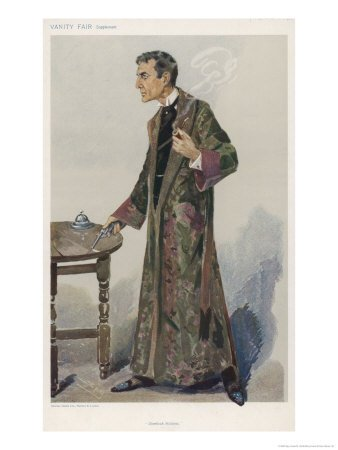 Sherlock Holmes as Played on the London Stage by Actor William Gillette Stretched Canvas Poster Print by Spy (Leslie M. Ward) , 12x16