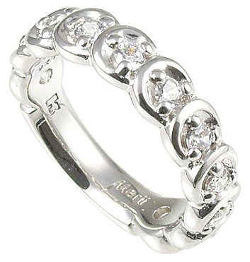 Merii Sterling Silver White CZ Contemporary Half Eternity Ring