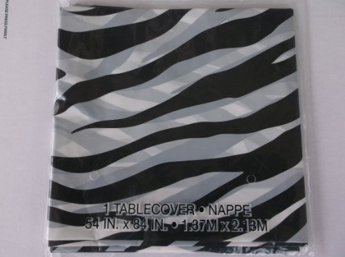 Zebra Stripes Animal Print Plastic Table Cover (1ct)