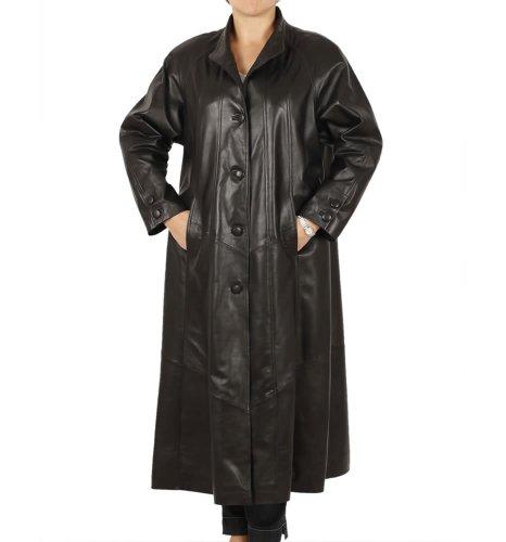 Simons Leather Women's Full Length Leather Swing Coat 14 Black