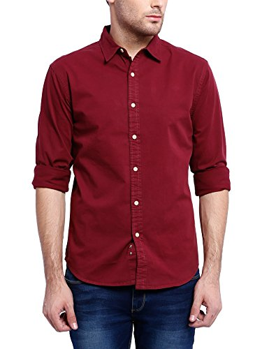 Blue Saint Men's Casual Shirt (8907278072758_B1S16MFS0011_Large_Maroon)