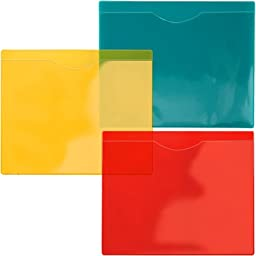 StoreSMART® - File Jacket with Magnetic Back - 6-Pack - 2 ea. of See-Thru Colors: Green, Red, Yellow - Heavy Duty Plastic - FJ85STVPM-6