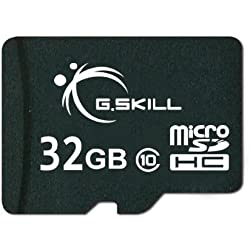 G.Skill FF-TSDG32GA-C10 32GB UHS-I / Class 10 MicroSDHC Memory Card with SD Adapter (Black)