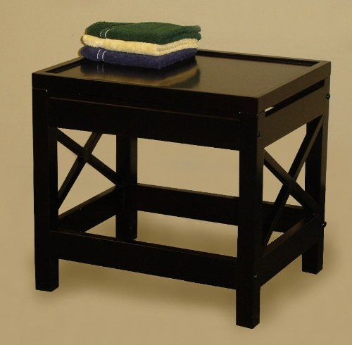 Sourcing Solutions X-Frame Bathroom Stool, Espresso Finish front-673719