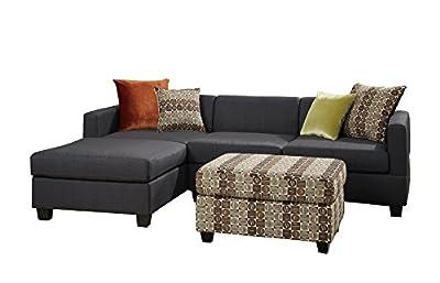 Poundex Bobkona Dayton Blended Linen 3-Piece Reversible Sectional Sofa with Ottoman, Slate Black