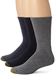 Gold Toe Men\'s 2306S Uptown Crew 3 Pack Casual Sock, Indigo/Washed Blue/Dark Indigo, Sock Size 10-13/Shoe Size 6-12.5