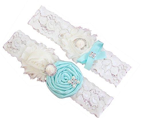 Wedding Garter Set Baby Blue Turquoise / Ivory Chiffon Flowers w/ Pearl Rhinestone Bow Lace