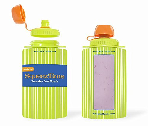 Squeez'Ems 6oz Reusable Food Pouches ~ New & Improved Screw-Top Design! (2 Pouches)