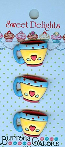 Sweet Delights Buttons-Coffee Cups