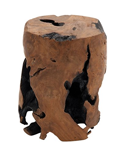 Deco 79 Teak Wood Round Stool, 14 by 18-Inch (Tree Stump Side Table compare prices)
