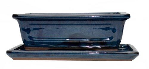 6 Inch Rectangular Blue Bonsai Pot with Matching Tray.