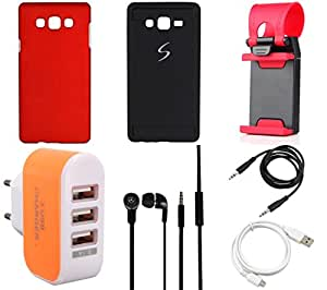 NIROSHA Cover Case Headphone USB Cable Mobile Holder Charger for Samsung Galaxy ON7 - Combo