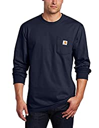 Carhartt Men's Workwear Pocket Long Sleeve T-Shirt Midweight Jersey Original Fit K126,Navy,Medium