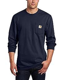 Carhartt Men\'s Workwear Pocket Long Sleeve T-Shirt Midweight Jersey Original Fit K126,Navy,Large