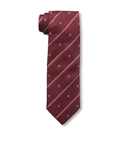 Rossovivo Men's Printed Emblem Tie, Red