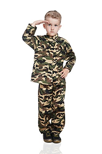 [Kids Army Boy Halloween Costume Military Soldier Recruit Camo Dress Up & Role Play (3-6 years,] (Halloween Costumes Ideas For Teen Boys)