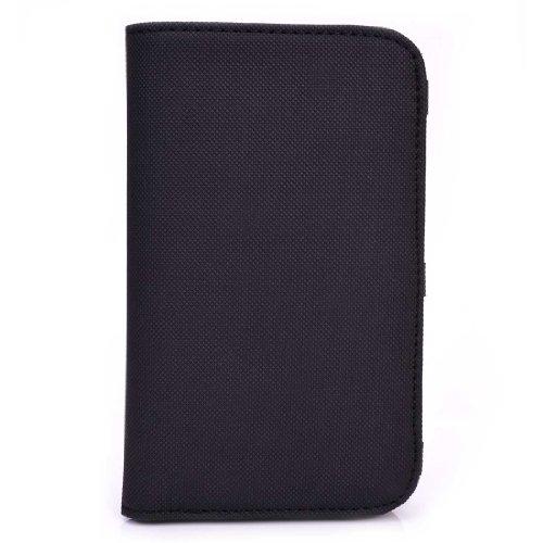 Flat Black Universal Mens Wallet phone cover case fits Samsung Galaxy S Blaze 4G T769 NuVur Key Chain SMENBFK2