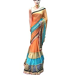 Orange and Blue Designer lycra With Embroidered lehenga Saree.