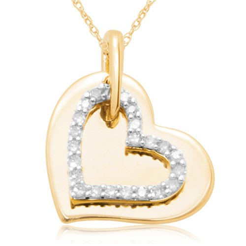 10k Yellow Gold 2-Piece Diamond Heart Pendant
