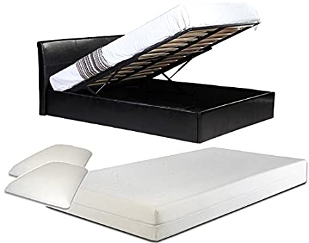 4ft Small Double Black Ottoman Lift Up Storage Faux Leather Bed + 10 Inch Deep Memory Foam Mattress + FREE Memory Foam Pillows - Also available in Brown or White - Master Bedroom Childrens Bedroom Teens Bedroom Guest Bedroom - Perfect for storing Shoes DV