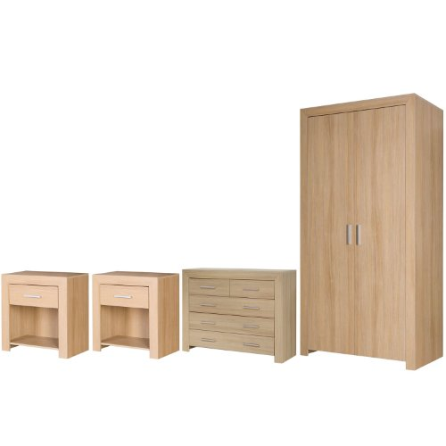 Large Oak Veneer Contempory Bedroom Furniture Set With Side Tables Chest of Draws and Wardrobe