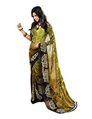 Fabdeal Light Green And Brown Georgette Printed Saree Sari Sarees - B00PQL15A2