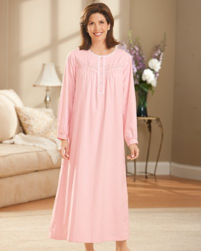 national brushed flannel nightgowns pink large national - Flannel Nightgowns