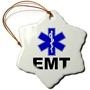 3dRose orn_159582_1 EMT Emergency Medical Technician Doctor Nurse Snowflake Ornament, Porcelain, 3-Inch
