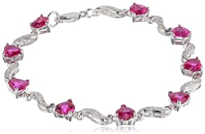 "Sterling Silver, Created Ruby, and Diamond Bracelet (0.02 cttw, H-I Color, I2-I3 Clarity), 7"" by Amazon Curated Collection"