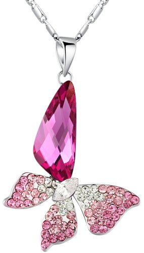 Stylized Butterfly Wing Drop Swarovski Elements Crystal Pendant Necklace (Pink) 2004701