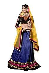 Livaaz Womens Net Lehenga Choli (Sf100443 _Blue::Black _Free Size)