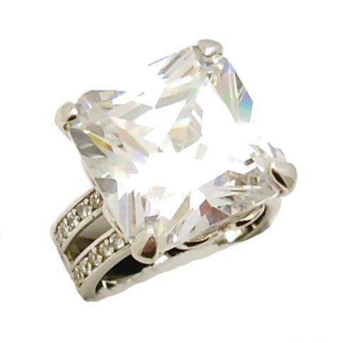 Ladies Heavyweight Silver Large Square Cut CZ Solitaire with CZ Set Shoulders Engagement Ring Size P. Comes in a quality ring case.