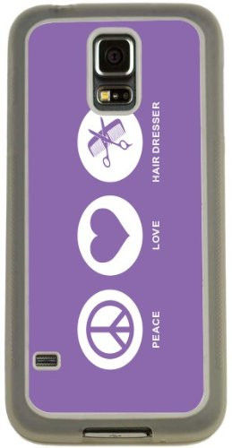 Rikki Knighttm Peace Love Hair Dresser Violet Color Design Samsung® Galaxy S5 Case Cover (Clear Rubber With Bumper Protection) For Samsung Galaxy S5 I9600 front-850001