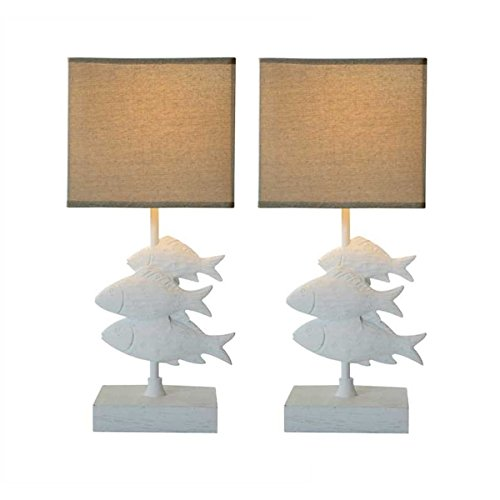 Creative Coop Fish Lamp with Burlap Shade - Set of 2
