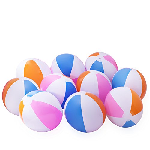 "10 Beach Balls Inflates - Approx. 16"" (Inch)"