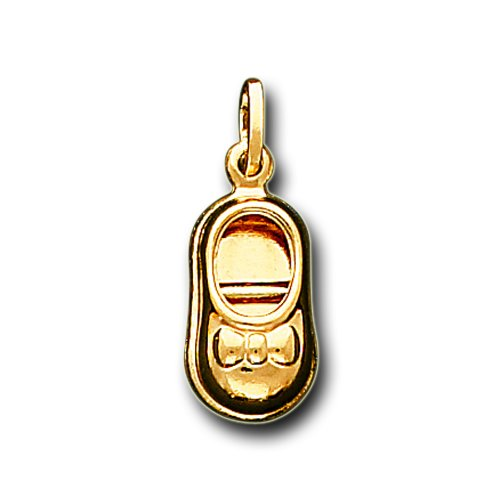 14K Solid Yellow Gold Baby Shoe Charm Pendant
