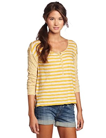 Roxy Juniors Rough Seas Long Sleeve Henley Shirt, Gold Stripe, X-Small