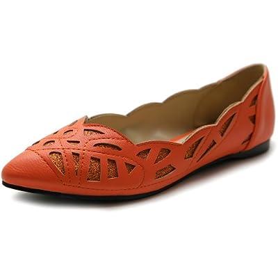 Ollio Women's Shoe Pointed Toe Patterned Cutout Glitter Ballet Flat