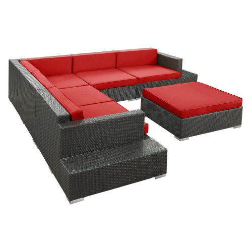 Harbor All-Weather Wicker Sectional Conversation Set Espresso - Seats 5 front-32615