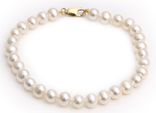 9ct Yellow Gold 5.5-6mm White Semi Round Freshwater Pearl Bracelet