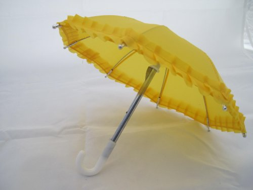 "Unique Doll Clothing Dark Yellow Doll Umbrella for 18"" Dolls Including the American Girl Line"