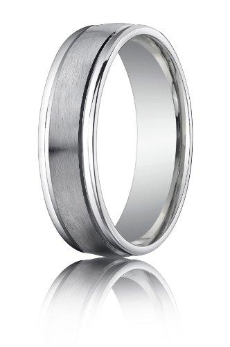 14K White Gold, 6mm Comfort Satin High Polished Round Edge Band (sz 6.5)