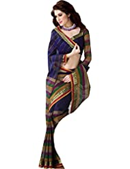 Exclusive Blue Party Wear Saree Zari Designer Work Indian Cotton Sari