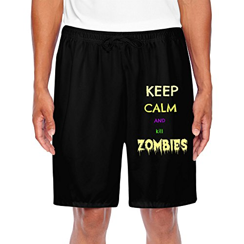 HNN Men's Keep Calm And Kill Zombies Performance Shorts Sweatpants