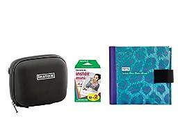 Fujifilm Instax Mini Camera Essentials Kit: Case, Purple Photo Album and Film (20 images) by MPC